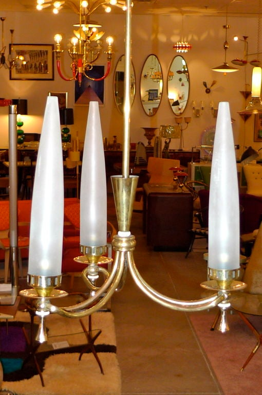 Italian Tri-Candle Chandelier by Angelo Lelii for Arredoluce For Sale