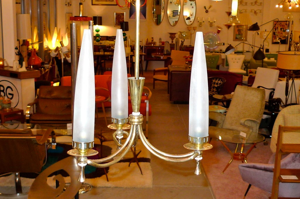 Mid-20th Century Tri-Candle Chandelier by Angelo Lelii for Arredoluce For Sale