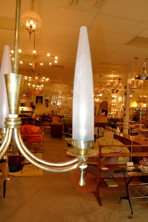 Tri-Candle Chandelier by Angelo Lelii for Arredoluce For Sale 1
