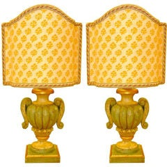 Pair of Italian Lamps with Fortuny Shield Shades