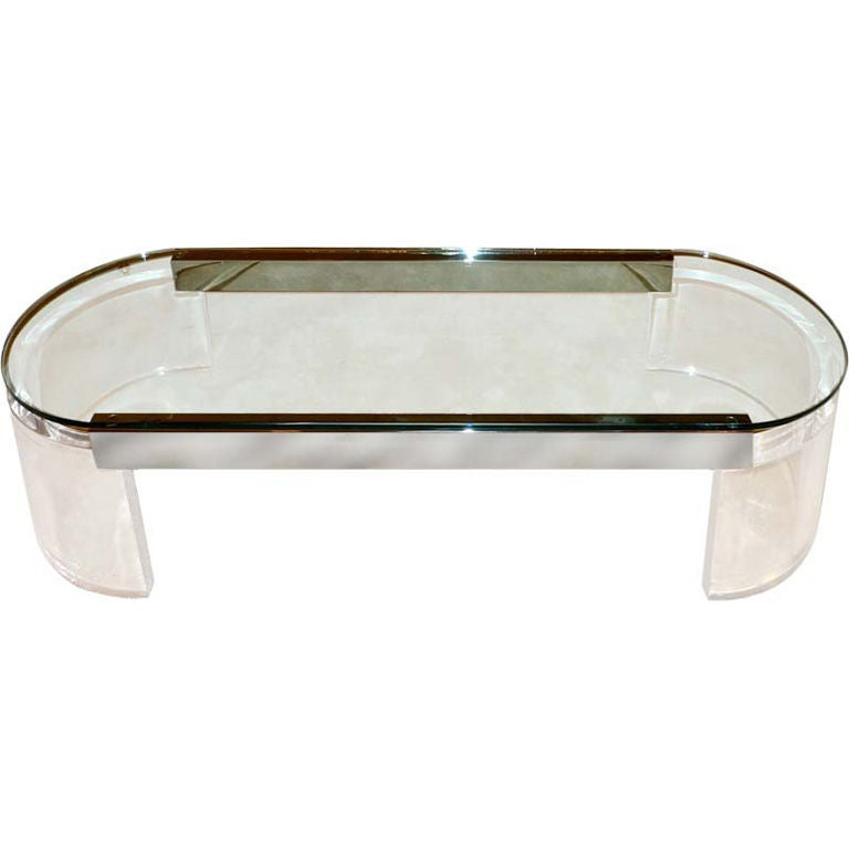 Lucite, Chrome And Glass Racetrack Cocktail Table At 1stdibs