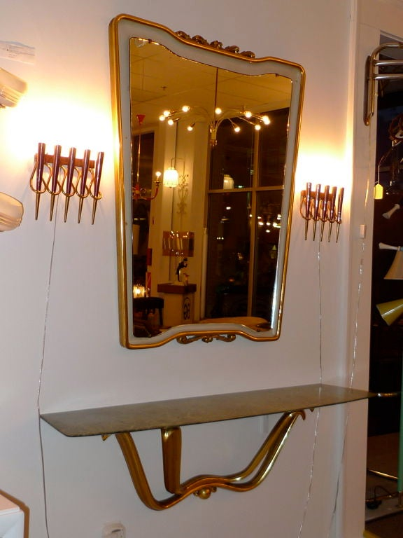 Floating Console & Mirror by Osvaldo Borsani In Good Condition For Sale In Hingham, MA