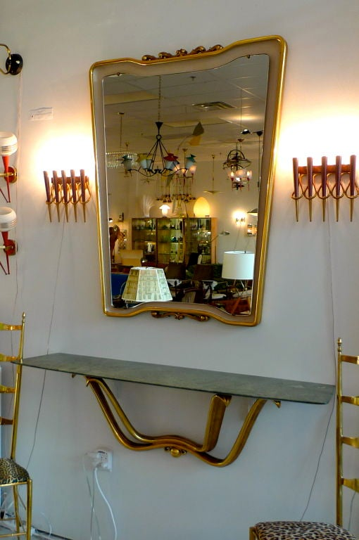 Mid-20th Century Floating Console & Mirror by Osvaldo Borsani For Sale