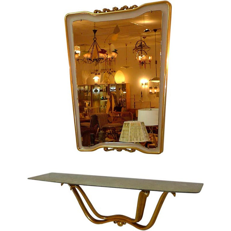 Floating Console & Mirror by Osvaldo Borsani For Sale