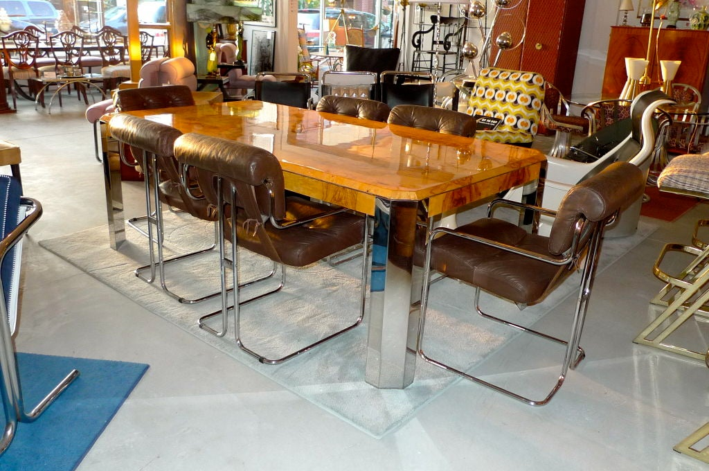 Burl Wood Chrome Dining Table By Leon Rosen For Pace Collection 3