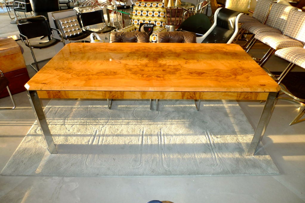 Burl wood and chrome dining table by leon rosen for pace for Leon s dining room tables