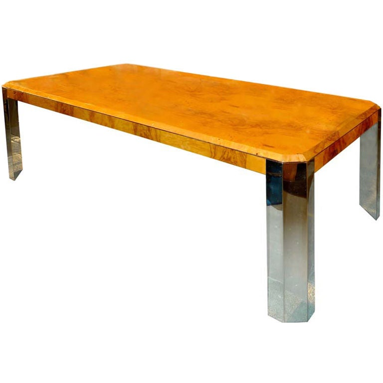 Burl Wood & Chrome Dining Table by Leon Rosen for Pace Collection
