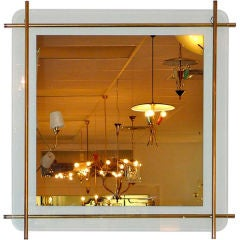 1960's Italian Brass Rod Framed Square Mirror