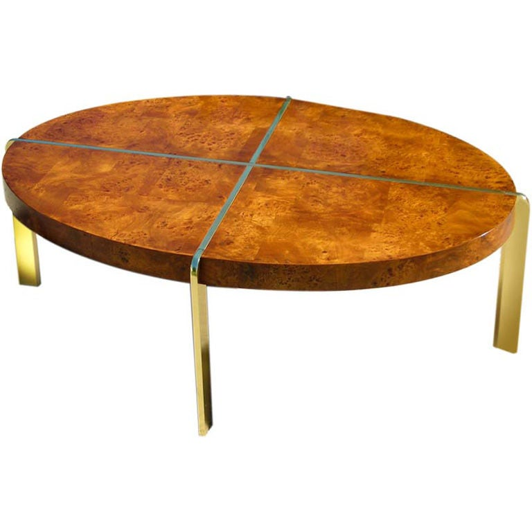 Burl wood and brass oval cocktail table by milo baughman at 1stdibs Wood oval coffee table