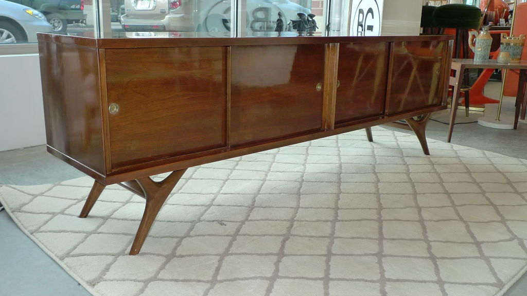 Long Low Brazilian Sideboard Credenza In Excellent Condition For Sale In Hingham, MA