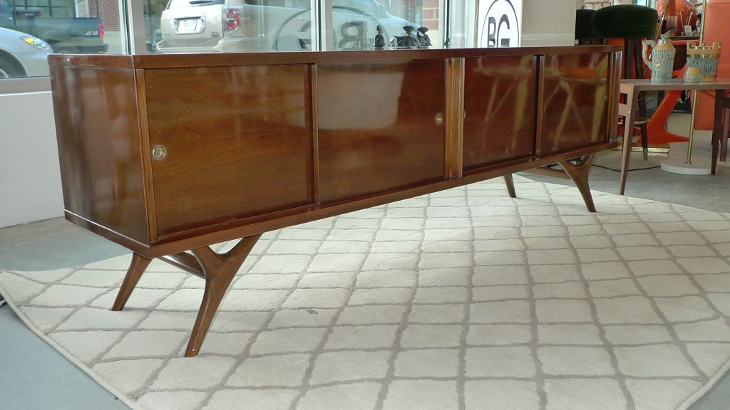 Mid-20th Century Long Low Brazilian Sideboard Credenza For Sale