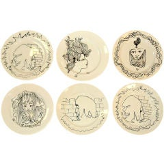Set of 6 Limoges Plates by Jean Cocteau for Christofle