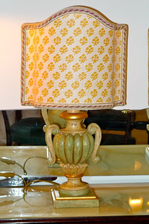 Pair Of Italian Lamps With Fortuny Shield Shades For Sale