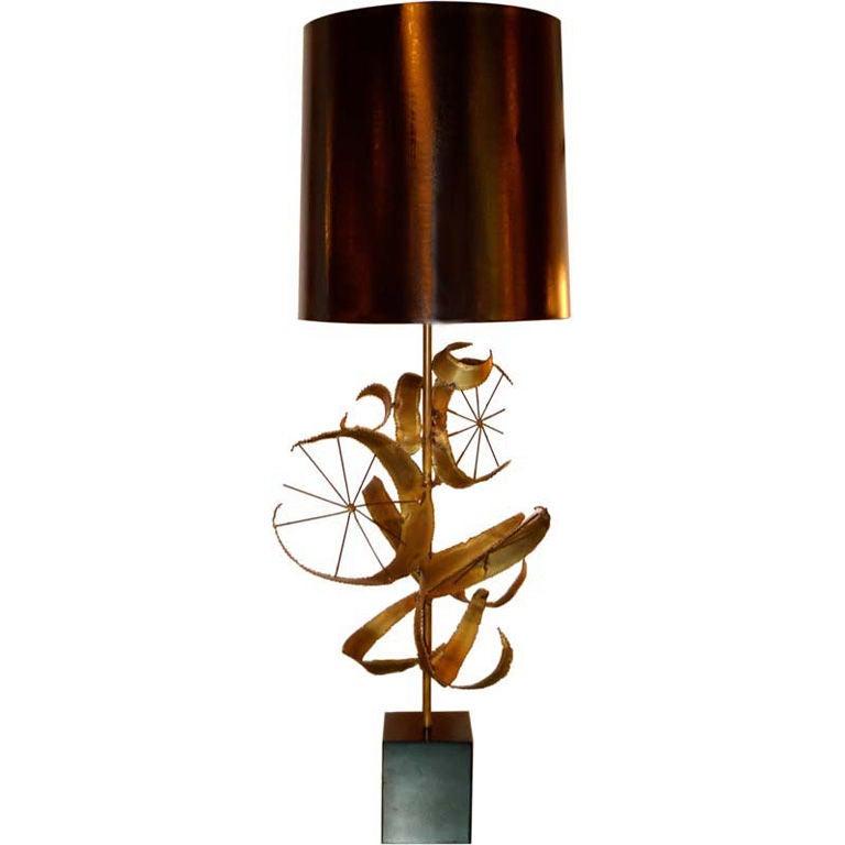"""Brutalist """"Setarrah"""" Lamp by Bijan of California for Laurel"""