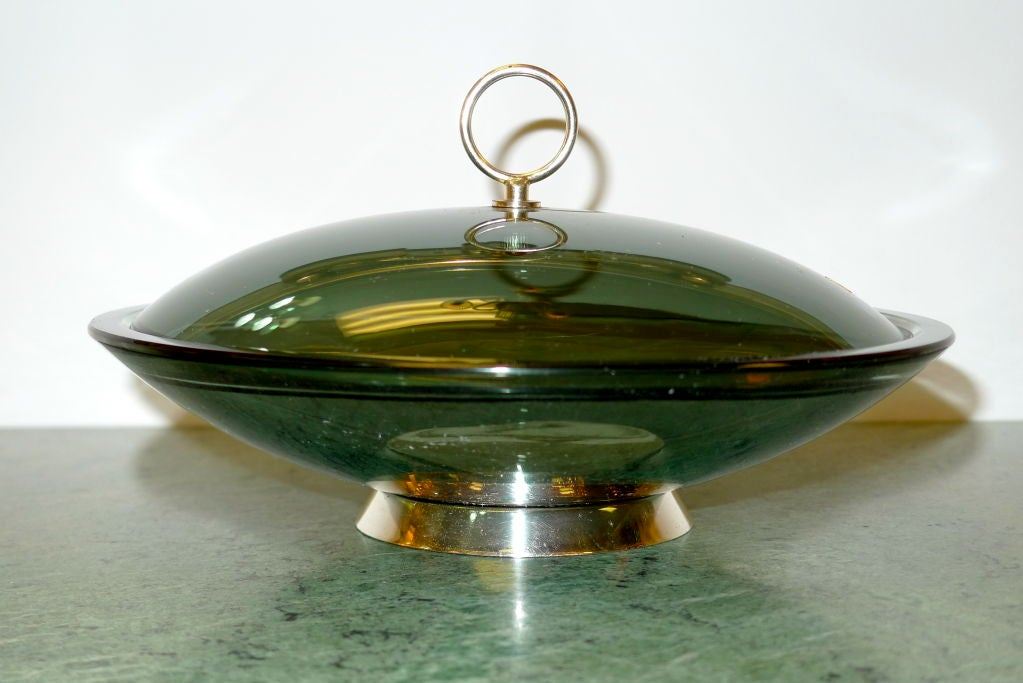 Mid-Century Modern Fontana Arte Lidded Bowl by Max Ingrand For Sale