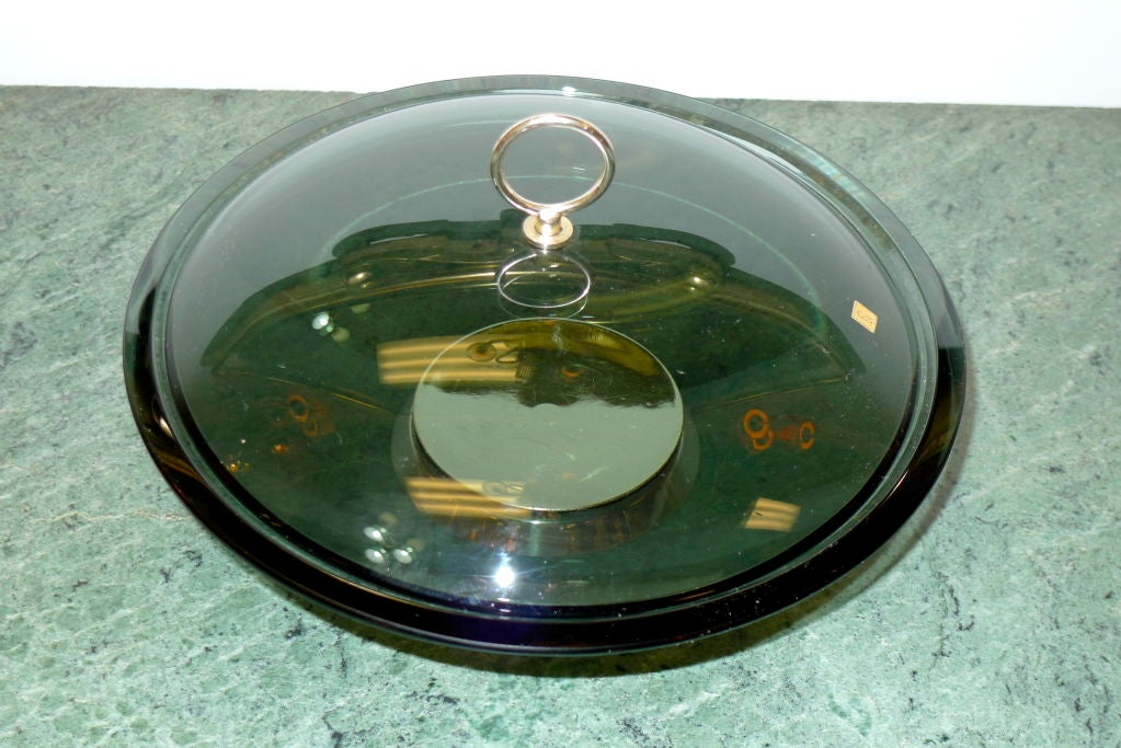 Fontana Arte Lidded Bowl by Max Ingrand In Excellent Condition For Sale In Hingham, MA