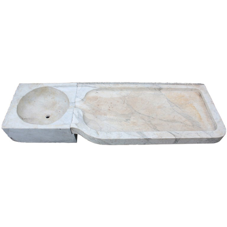 Marble Sink : Italian Carrara Marble Sink For Sale at 1stdibs