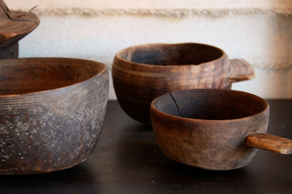 Wooden Dining Bowls ~ Yemen saudi border wooden bowl collection of four at stdibs