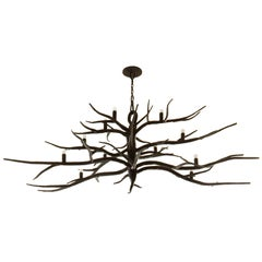 Custom Hand-Forged Iron Branch Chandelier by Michael Del Piero