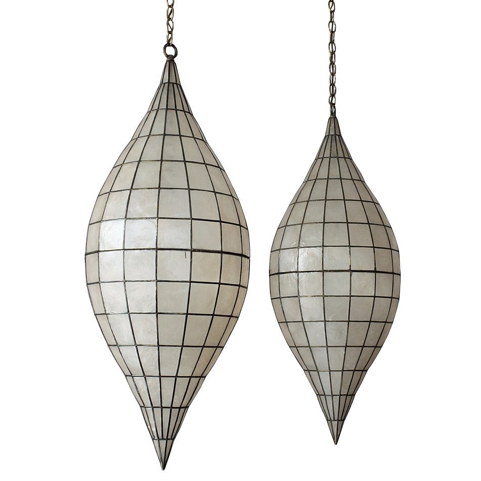 this pair of 1960s capiz shell pendant chandeliers is no longer. Black Bedroom Furniture Sets. Home Design Ideas