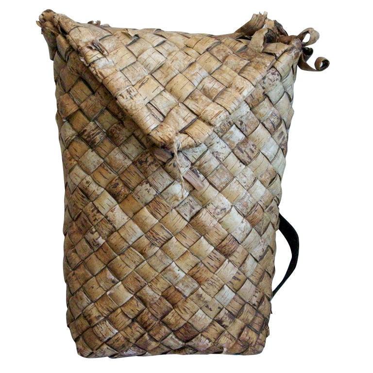 19th Century Swedish Woven Birch Backpack