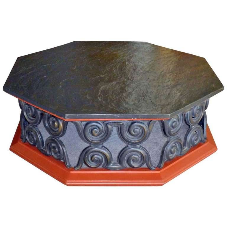 Octagonal coffee table with slate stone top for sale at for Octagon coffee table