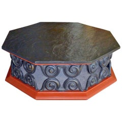 Octagonal Coffee Table with Slate Stone Top