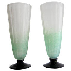Pair of Art Deco Pale Green Frosted Glass Vases by Schneider