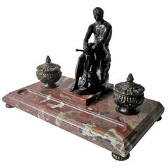 Spectacular Bronze and Marble Neoclassical Style Inkwell