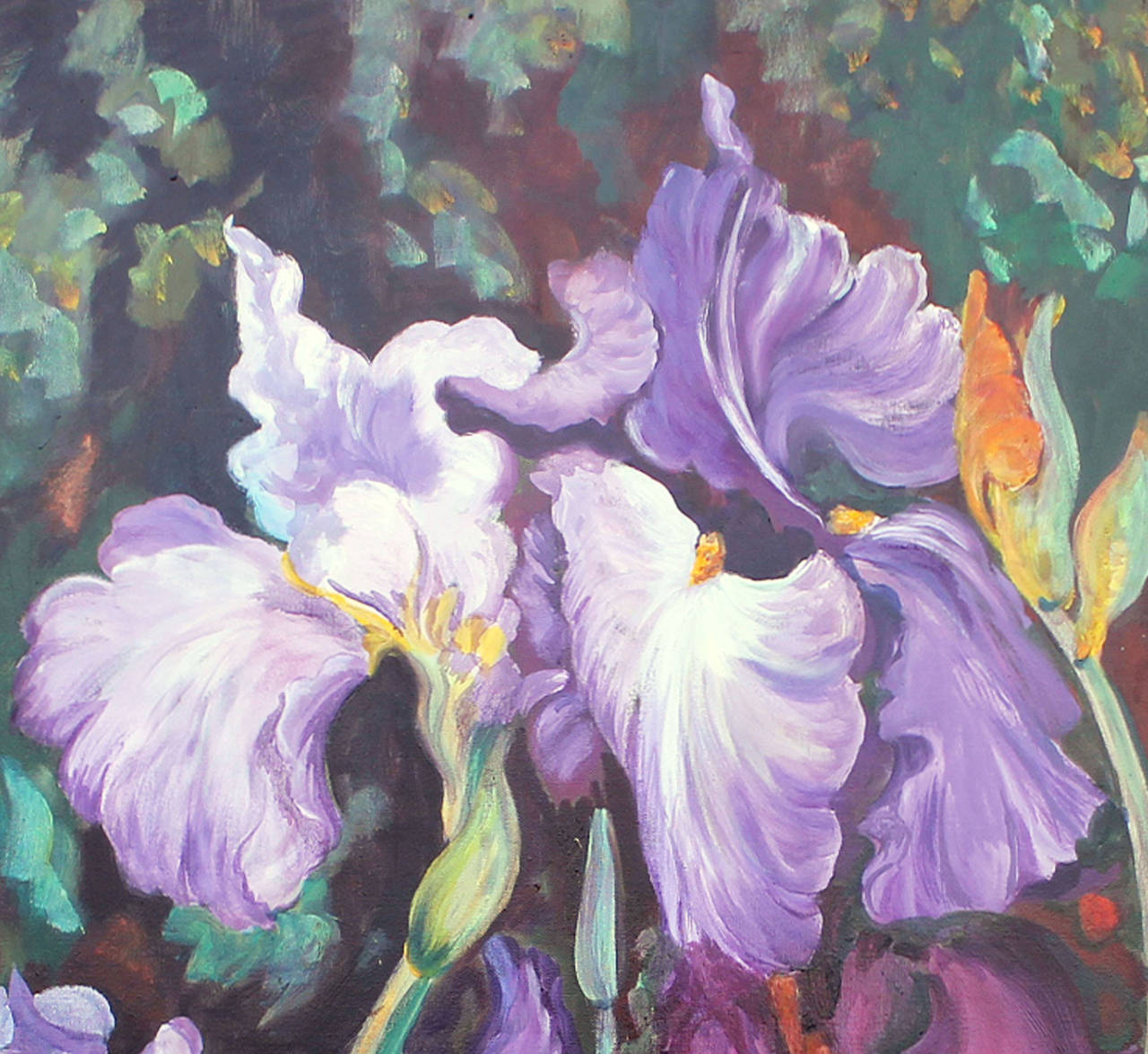 The subject of the painting are Iris  in the soft breeze of the garden, very refined vibrations of the colors for Nature's Lovers .  dance of the light on the fragil petals. Tranparencies  by glacis technic.  Contemporary Artist. References on Art