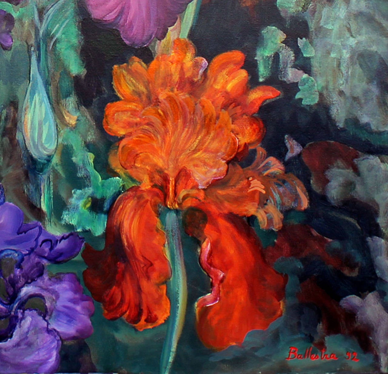 Painted Oil painting on Canvas Still Life Signed E. Ballestra Contemporary Artist For Sale