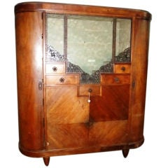 Early Art Deco Vitrine in Blond Mahogany Signed by Majorelle
