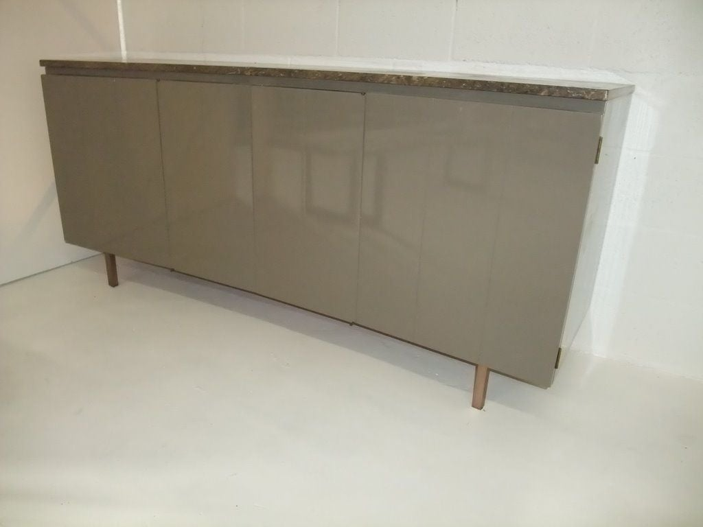 John stuart signed sideboard lacquered in taupe color for for Sideboard taupe