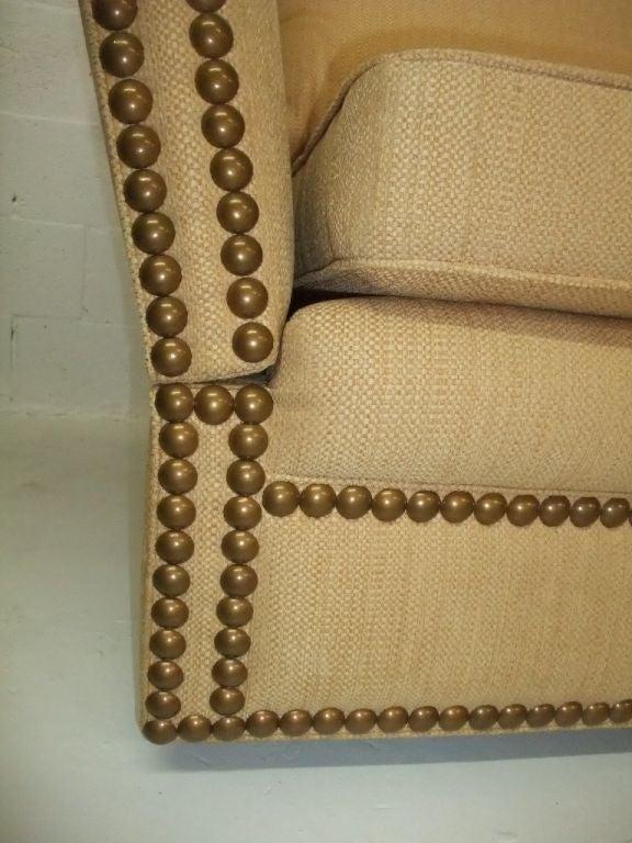20th Century Elegant and Comfortable Sofa yellow fabric