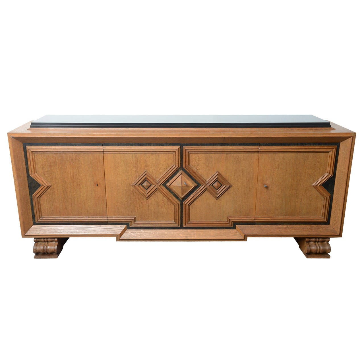art deco cubist design cerused oak sideboard by de coene belgian top marble at 1stdibs. Black Bedroom Furniture Sets. Home Design Ideas