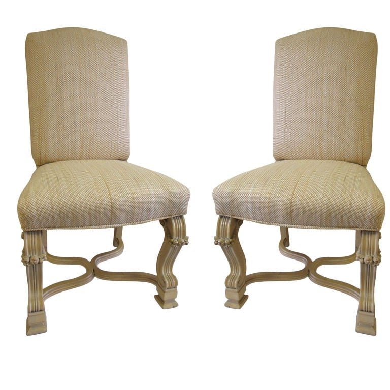 Pair of Side Chairs in the style of J.C. Moreux in cerused oak Circa 1940 For Sale