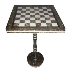 Mid-Century Modern Marble Chess Table