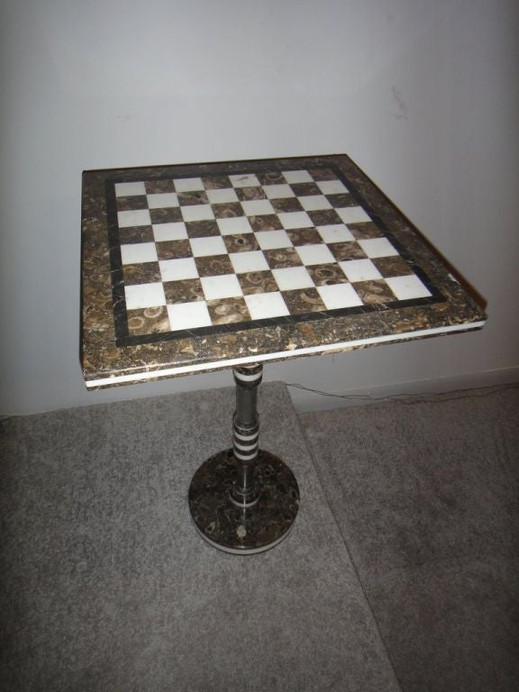 Mid Century Modern Marble Chess Table At 1stdibs