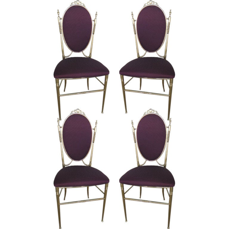 Mid Century Chiavari Italian Set of Four Bronze Chairs