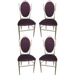 Four Mid Century Chiavari Italian Set of Four Bronze Chairs