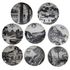 Adorable set of small 8 Plates  by  FORNASETTI