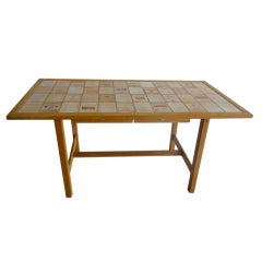 Mid-Century Oak Table with Roger Capron Ceramic Tiles