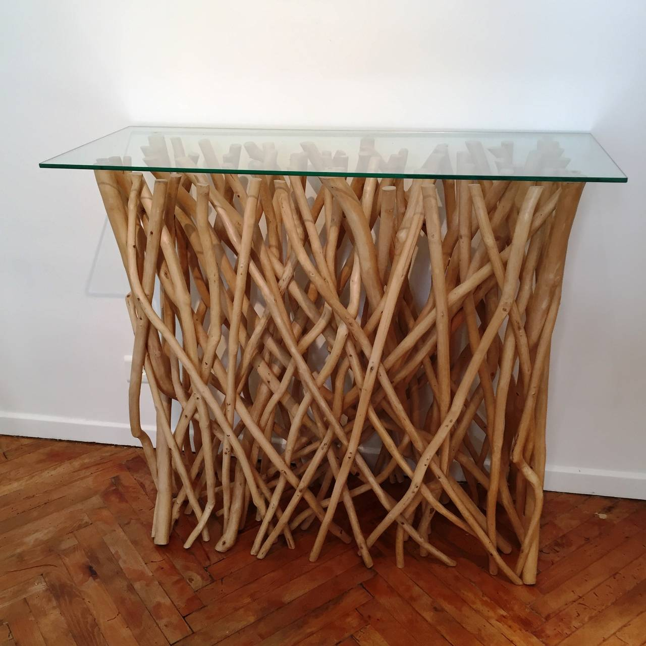 Unique console in driftwood and glass for sale at 1stdibs for Unique console tables for sale