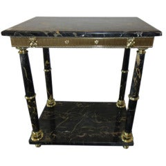 """Black and Gold"" Portoro Marble Table"