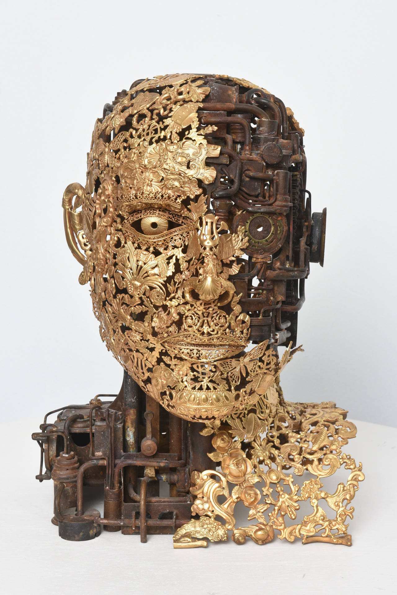 Bronze Sculpture by a very talented artist, Alain Bellino, made of bronze ornaments welded together. The nobility of these materials is sublimated, each one is a fragment of antique memory part of a new ultra-contemporary creation.