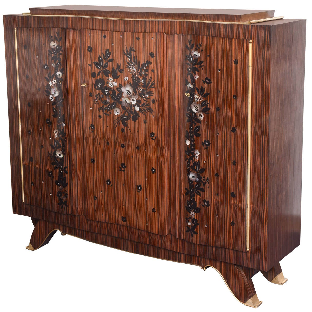 French Art Deco Jules Leleu Macar And Mother Of Pearl Cabinet For