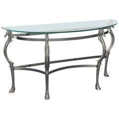 Glass and Chrome Mid-Century Horse Shape  Wall Console Table