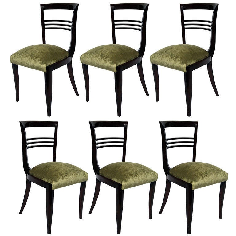 Six Art Deco Dining Chairs In The Style Of Maxime Old At