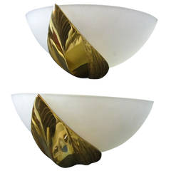 Midcentury Maison Charles Pair of Sconces in Glass and Bronze