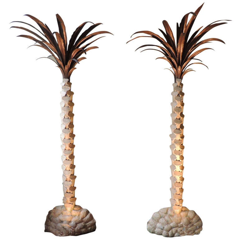 Pair of Early 20th Century Palm Tree Torchieres Attributed to Jansen